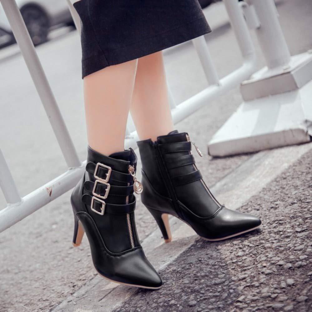Damen Stiletto Heel Stiefeletten Spitz Spitz Spitz Zipper Gürtelschnalle Mode Western Stiefel Schuhe Work Party Club Warm Stiefelies b9d43d
