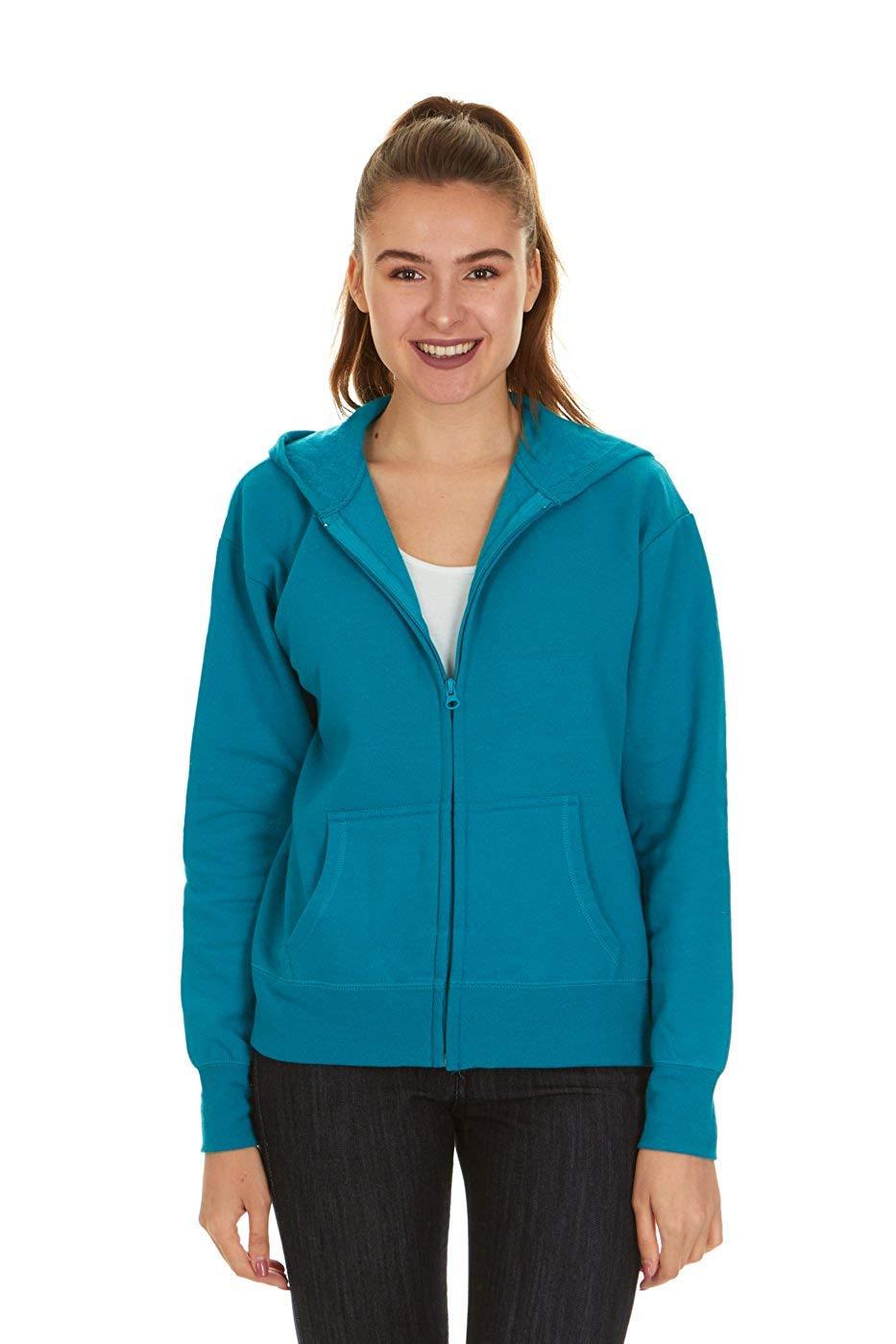 Hanes Women's Full Zip EcoSmart Fleece Hoodie, Dark Aquamarine, M