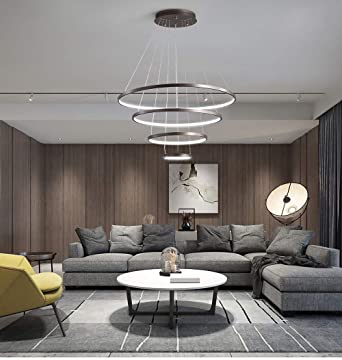 Lampe suspension salon LED lustre Dimmable avec télécommande ...