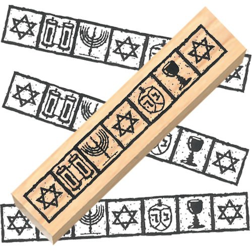 (Ruth's Jewish Stamps Wood Mounted Rubber Stamp - Jewish Border)