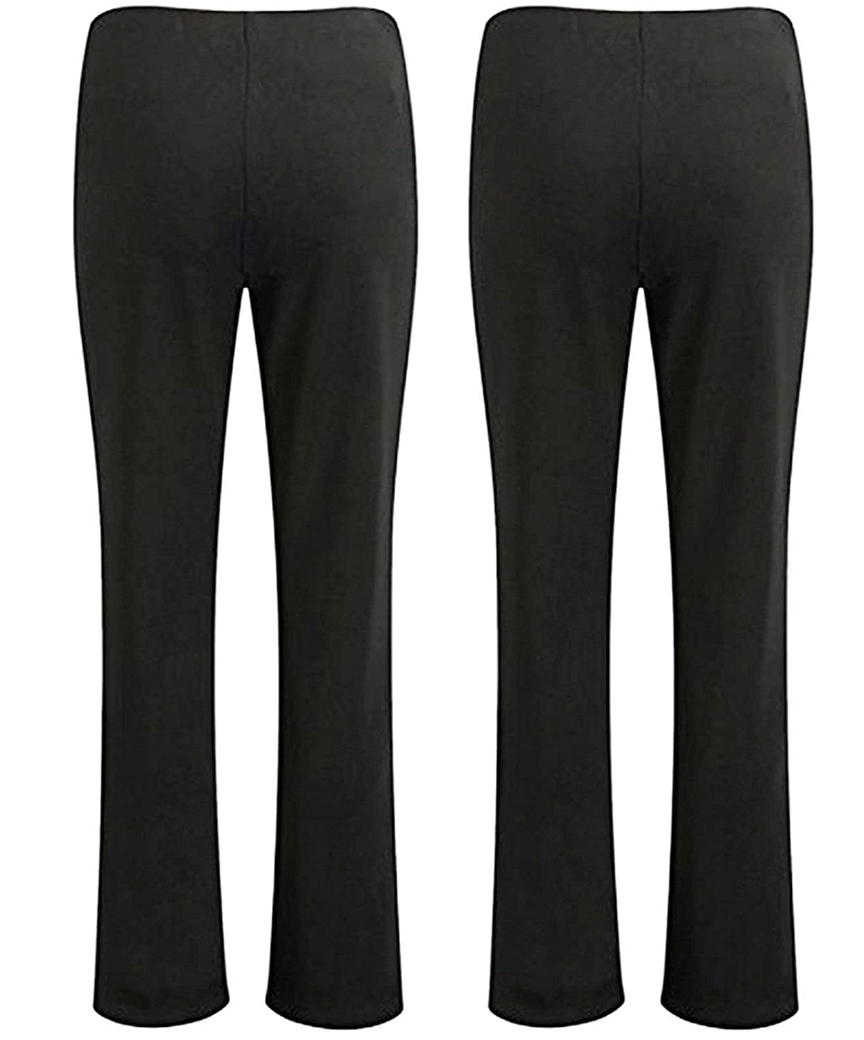 7e7975208e2 Shop Online Womens Elasticated Waist Stretch Ribbed Bootleg Trousers Ladies  Pull ON Pants Finely Ribbed Nurse Carer Worker Plus Size Bottoms Big Sizes   ...