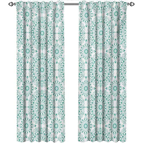 shenglv Oriental, Window Treatments Curtains Valance, Mandala Ethnic Oriental Image with Ivy Swirl Lace Like Detailed Artwork Print, Curtains Kitchen, W84 x L108 Inch, Aqua and White