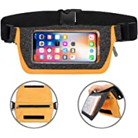 SEAFLASH Running Belt Waist Pack Phone Holder Fanny Pack Fitness Workout Belt, Water Resistant Dual Pockets with Clear…