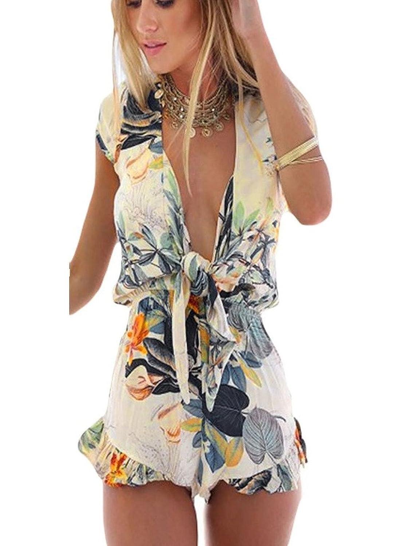 OYMMENEY Sexy Damen Damen Overall Kurz Sonnenblume-Druck Spitze Stitching Unten Halter Siamese Bleistift Hosen Shorts Strand Kleid Sommer