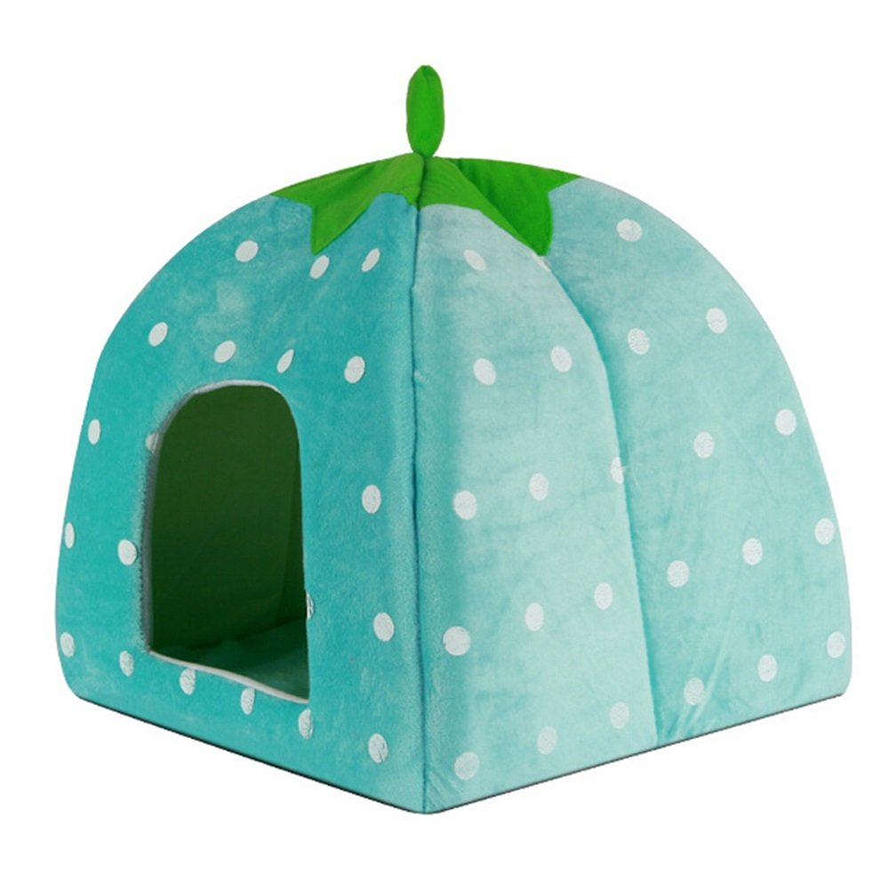 bluee 323232cm bluee 323232cm Pet bed Pet cat Litter Kennel Teddy VIP Bichon Dog House Small Dog yurt cat and Dog Supplies (color   bluee, Size   32  32  32cm)