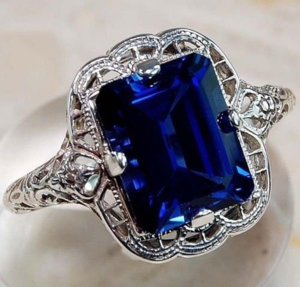 elegantshop Huge Natural 3.5Ct Tanzanite 925 Silver Ring Women Wedding Engagement Size6-10 (6) accessories