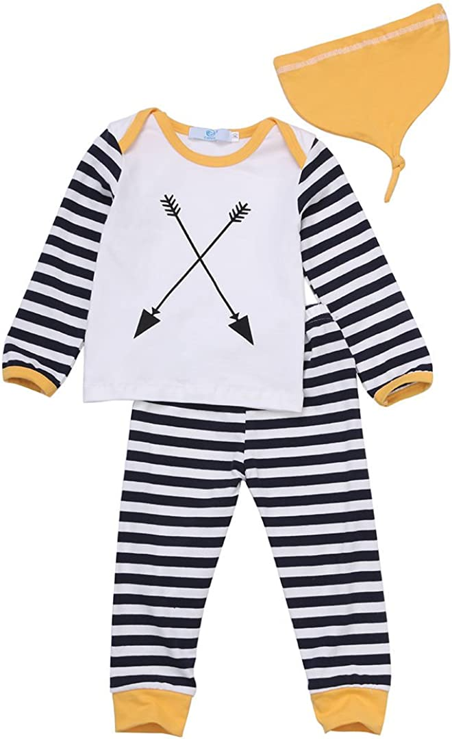 3Pcs//Set Newborn Baby Girl Boy Striped Long Sleeve Tops Pant Hat Outfits Clothes