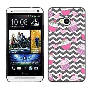 Chevron Magdalena Negro Blanco Rosa Dulce- Metal de aluminio y de plástico duro Caja del teléfono - Negro - HTC One M7