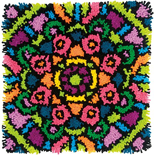 (Dimensions Colorful Mandala Latch Hook Craft Kit for Kids, 16'' x 16'')
