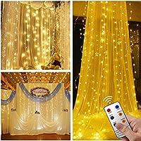 Tofu 300 LED Twinkle Window Curtain Star Lights w/8 Modes Remote (Diamond Pendant)