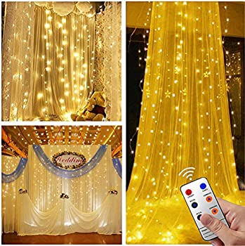 Tofu 300 LED Twinkle Window Curtain Star Lights w/8 Modes Remote