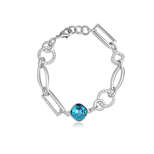 ac0415053c9a6 Lulu Dharma 18k White Gold Swarovski Bracelet, Link Charm Bracelets with  Genuine Swarovski Crystals, Best Gifts for Women, Girls, Silver Tennis ...