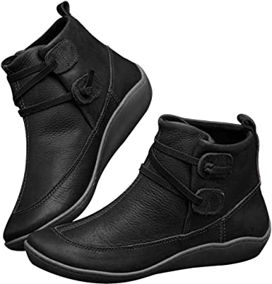 Rakkiss Womens Leather Boots Winter Waterproof Round Toe Hiking Boots Vintage Elastic Ankle Flat Bootie Shoes