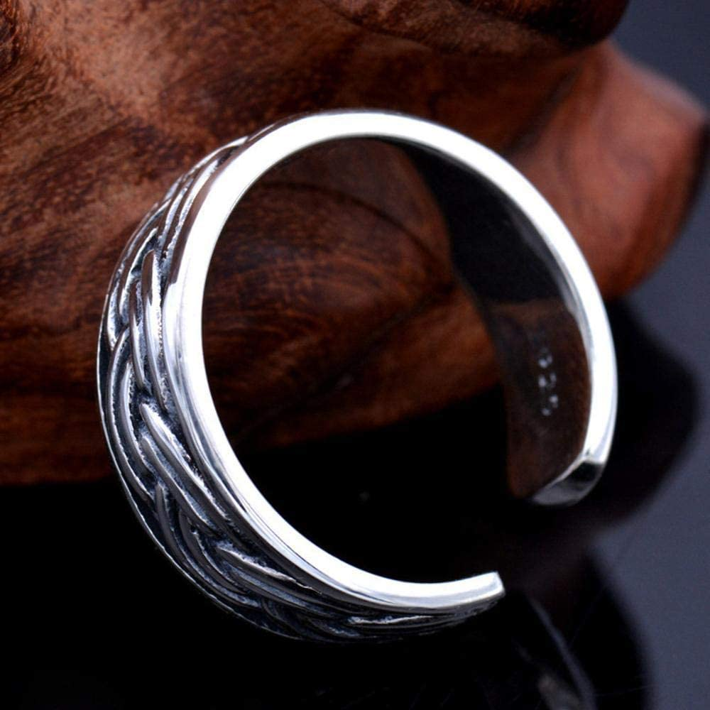 Luziang S925 Sterling Silver European and American Rock Art Style Twist Rope Pattern Mens Ring-Romantic Fashion Design