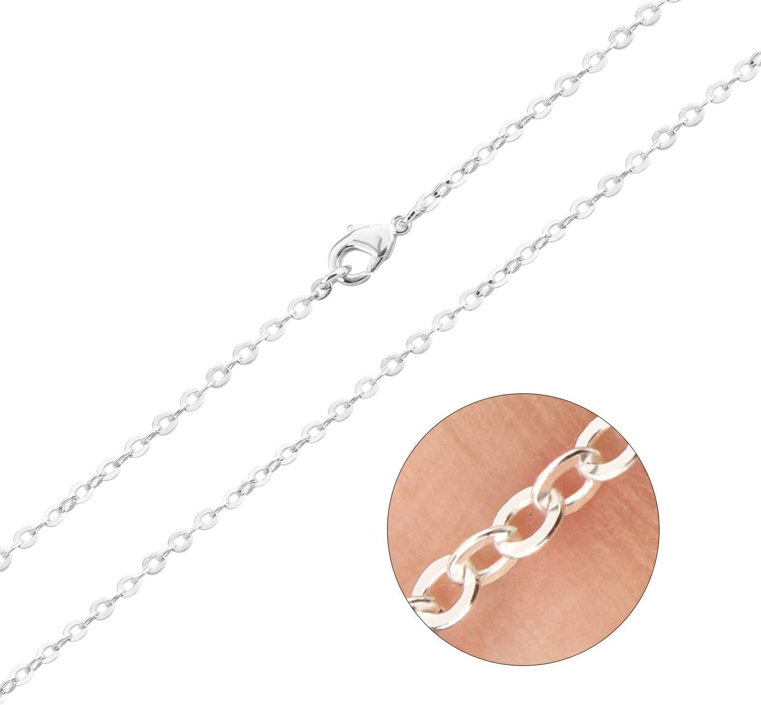 18 Inches Outus 24 Pack Silver Plated Chain Necklace Link Cable Chain Charms with Lobster Clasp 1.2 mm