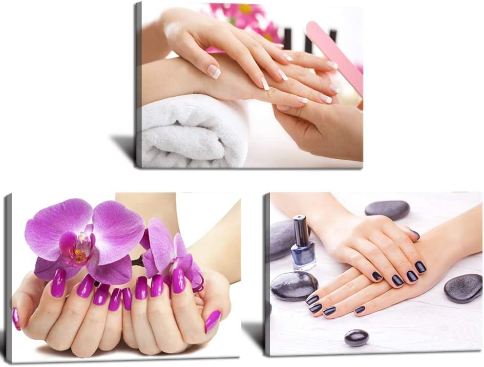 """HOMEOART Nail Salon Decor Manicure Wall Picture Prints on Canvas Purple Orchid Flower Decor Framed Beauty Salon Wall Decor 12""""x16""""x3 Pictures"""