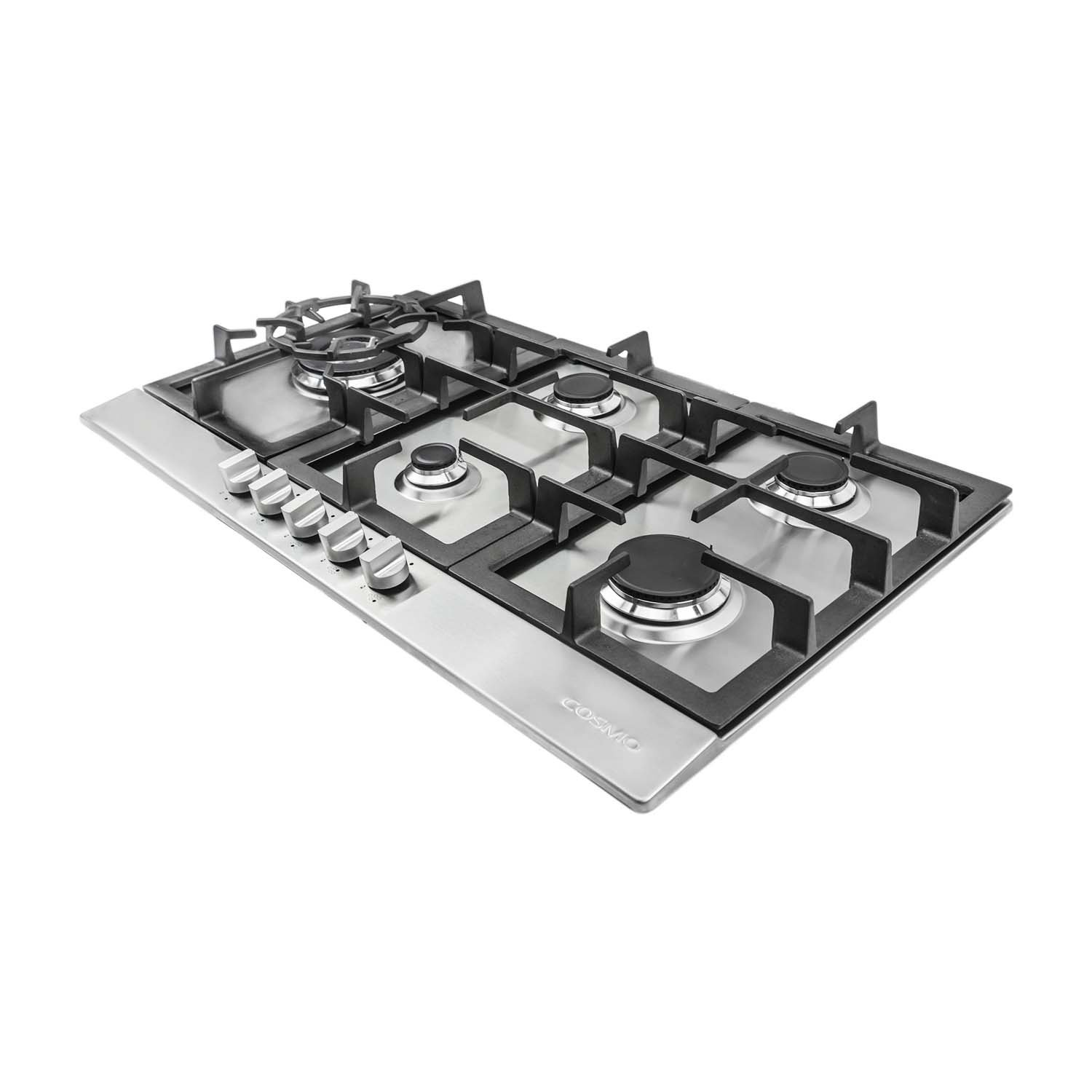 Cosmo 850SLTX-E 30 in Professional Style Gas Cooktop Metal Knobs in Stainless Steel 5 Performance Burners with Iron Grates