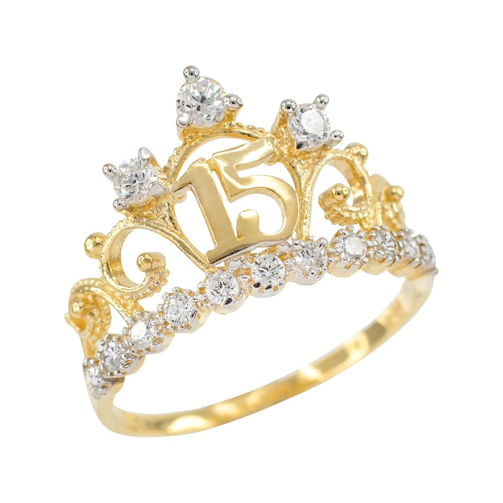 10k Yellow Gold CZ-Studded Crown Sweet 15 Anos Quinceanera Ring, Size 6
