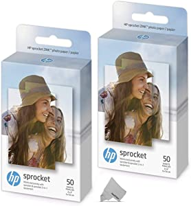 2 Pack of 50 HP Sprocket Photo Paper Sheets, Exclusively for HP Sprocket Portable Photo Printer, (2x3-inch), 100 Sticky-Backed Sheets + HeroFiber Ultra Gentle Cleaning Cloth