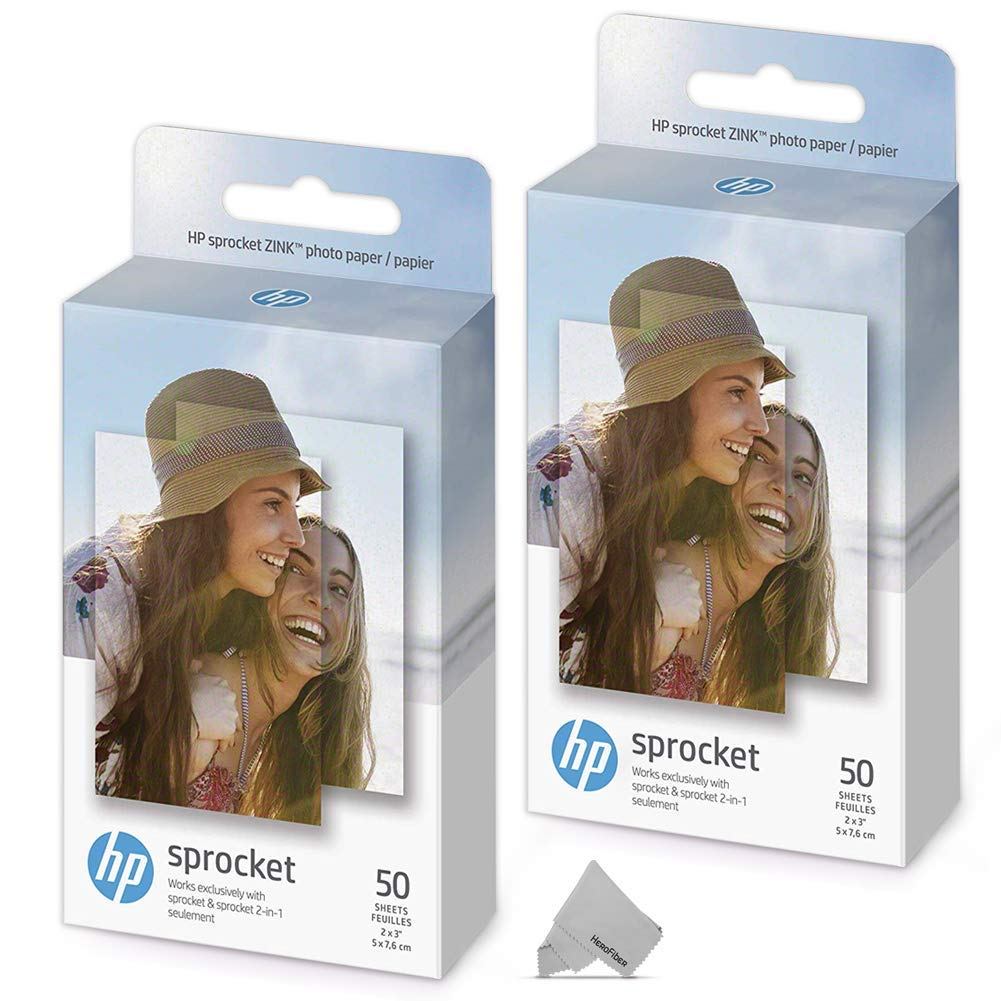 2 Pack of 50 HP Sprocket Photo Paper Sheets HeroFiber Ultra Gentle Cleaning Cloth 100 Sticky-Backed Sheets Exclusively for HP Sprocket Portable Photo Printer, 2x3-inch