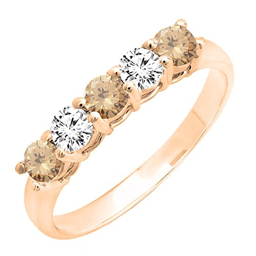 DazzlingRock Collection 14K rose gold ladies 5 anillo de bodas de boda nupcial de piedra 4: Amazon.es: Joyería