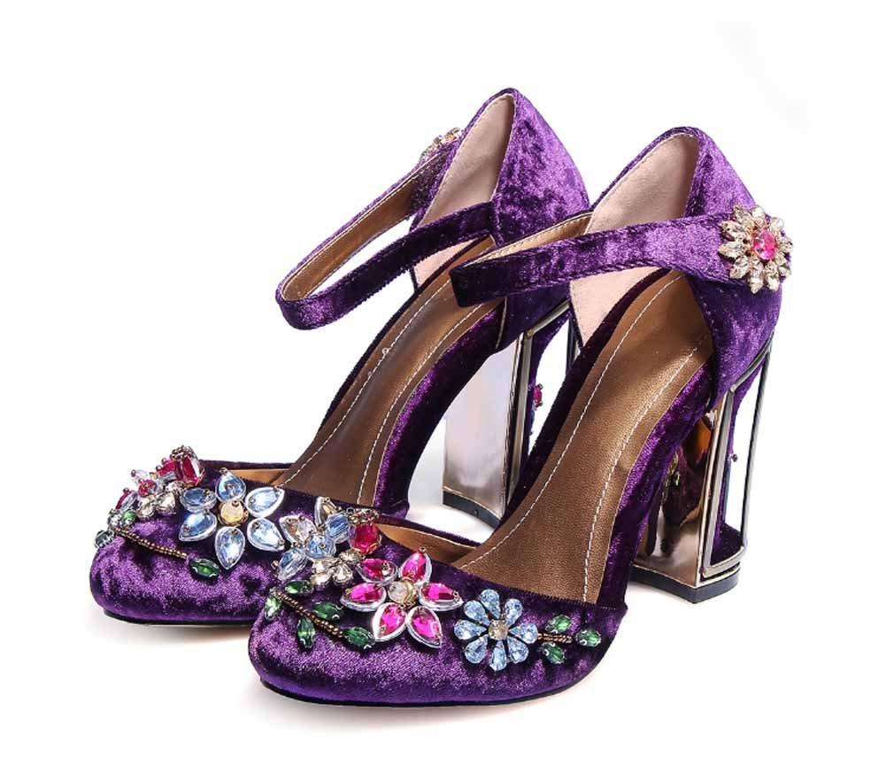 Sandali Con Cinturino Alla Caviglia Da Donna Con Fiori 2018 Sandali Con Tacco A Volpe In Velluto Tacco Alto Da Donna Di Grandi…