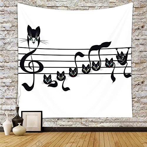iPrint Polyester Tapestry Wall Hanging,Music Decor,Notes Kittens Kitty Cat Artwork Notation Tune Children Halloween Stylized,Wall Decor for Bedroom Living Room Dorm