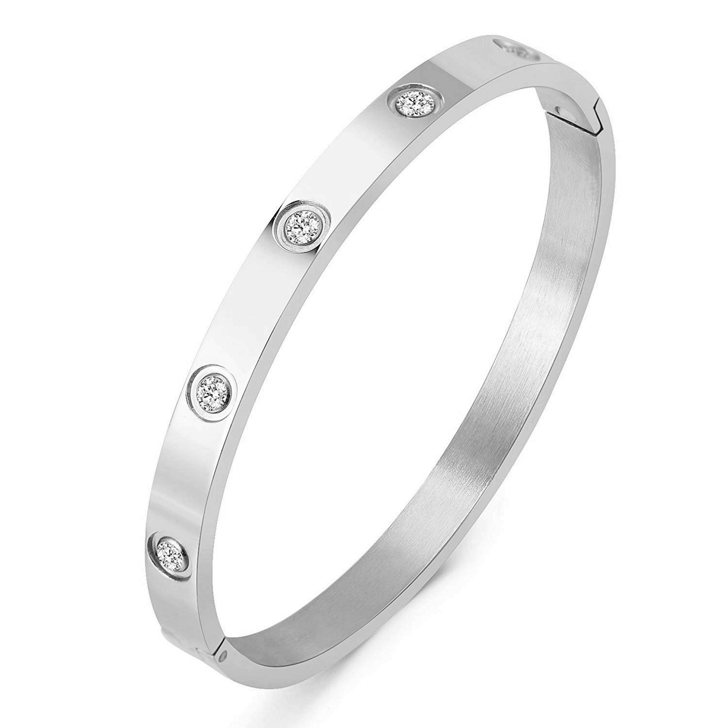 Z.RACLE Titanium Steel Bangle Bracelets for Women Bangle Bracelet Set in Heart and CZ Stone Jewelry Fits 6.5 Inch Wrists