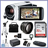 Canon VIXIA HF R800 HD Camcorder [White] Travel Bundle, includes: 32GB SDHC Memory Card, LED Light, Telephoto Lens, Tripod, Spare Battery and more...