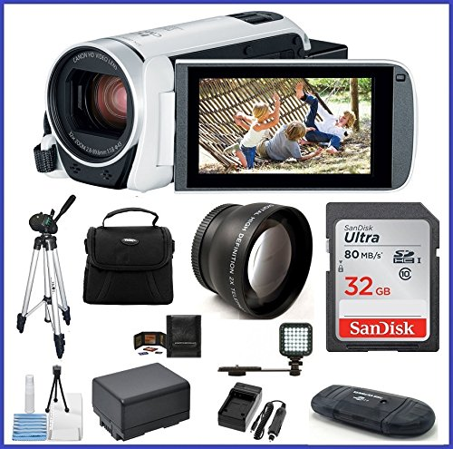 - Canon VIXIA HF R800 HD Camcorder [White] Travel Bundle, includes: 32GB SDHC Memory Card, LED Light, Telephoto Lens, Tripod, Spare Battery and more...