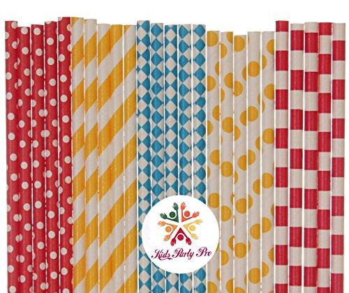 125 pcs Mixed Circus Party Paper Straws, Yellow Striped Polka Dot Red Sailor Stripe Dot Blue Diamond Beverage Paper Drinking Straws Bulk, Carnival Birthday Party Cake Pop (Striped Lollipop Sticks)