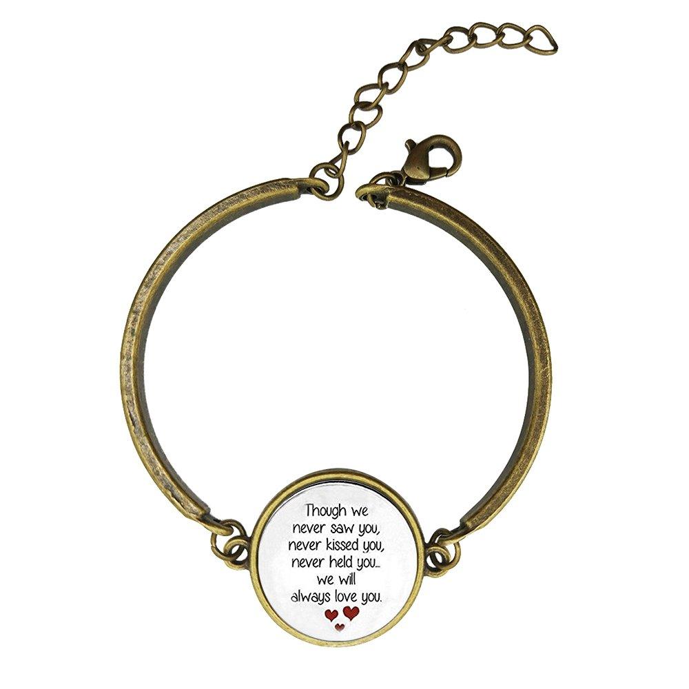 Adjustable Vintage Bronze Bracelets Miscarriage Keepsake - Loss Of Unborn Baby Copper Bangle Custom Glass Cabochon Charm Brace Lace