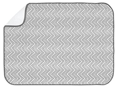 InterDesign iDry Chevron Kitchen Mat, 24 x 18, Gray/White by InterDesign