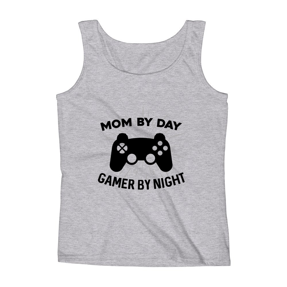 Mad Over Shirts Mom by Day Gamer by Night Game Gamer Unisex Premium Tank Top