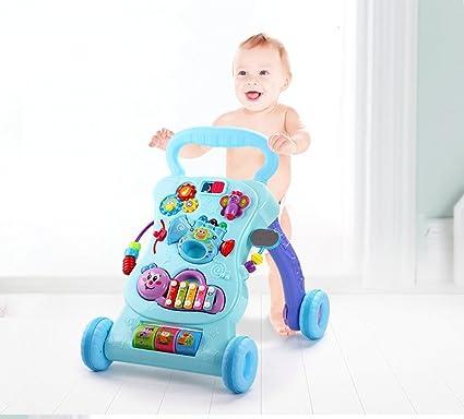 Andador para Bebés Prevent Rollover multifunción con carrito de aprendizaje de música Stand Baby Walker Toy