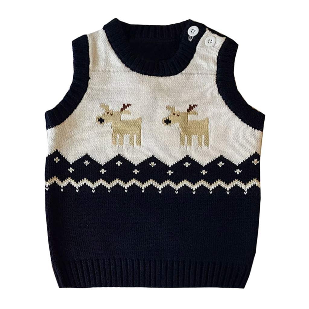 Winter Baby Girl Cute Sweater,Toddler Kids Girl Winter Christmas Deer Sweater Knitted Warm Vests (Navy, 0-6 M)