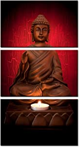 Kreative Arts - 3 Panels Canvas Prints Zen Art Wall Decor Red Buddha Modern Home and Office Decor Photos to Prints Paintings on Canvas Ready to Hang 12x20inchx3pcs