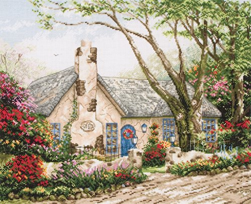 - Anchor Maia 18 Count Thomas Kinkade Morning Glory Cottage Counted Cross Stitch Ki-10-1/2 by 13-1/2-Inch