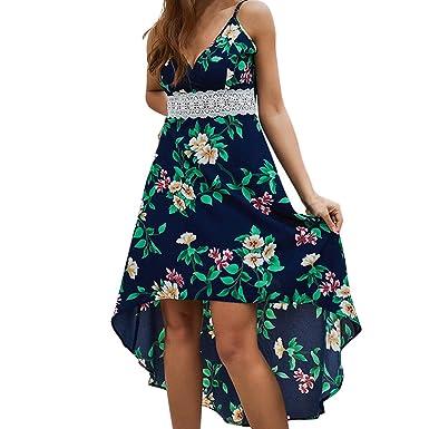 IZZB Mode Damen Sommer Partykleid Bohemian Camisole Ärmelloser V-Ausschnitt Freizeitkleid Abendkleid Cocktailkleid Kleider