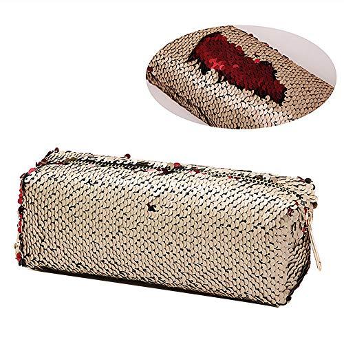 XYanXXX 1Pc Pencil Case,Sequins Design Makeup Case Pencil Pen Bag with Zipper Pencil Holder Portable Cube Purse Gold Red -