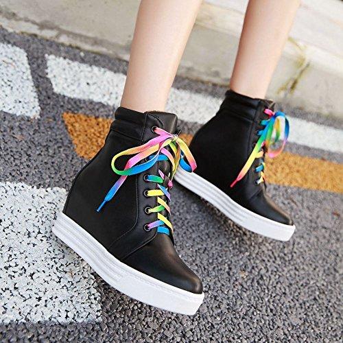 Carolbar Mujeres Colorful Lace Up Platform High-top Hidden Heel Fashion Sneakers Black