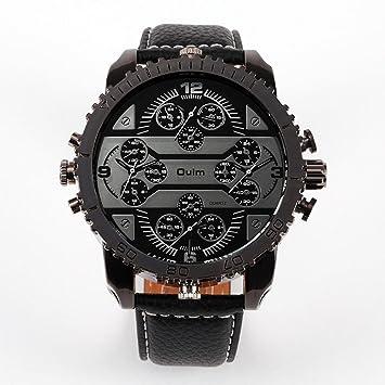 bazar chino Hombres relojes 4 zona horaria ejército militar cuero correa Japón movimiento reloj hombres reloj de cuarzo , black: Amazon.es: Deportes y aire ...