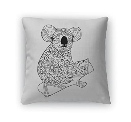 Gear New Throw Pillow Accent Decor Koala Black White Hand Drawn Doodle Animal For Coloring