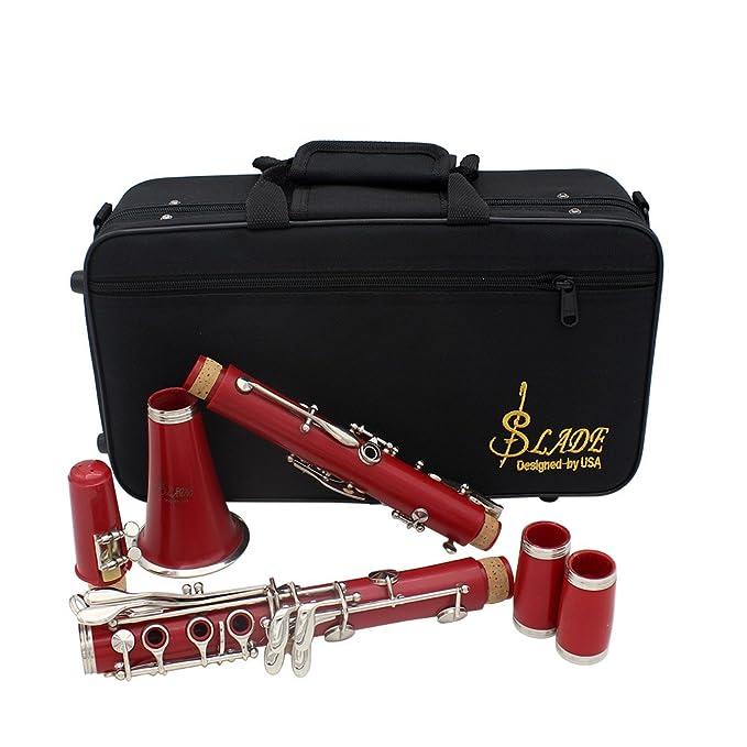 lanlan clarinete ABS 17 Key clarinete Bb plano Soprano Prismáticos clarinete con grasa de corcho paño Guantes 10 SLP35-MJL7-GS4 Destornillador Reed Case, ...