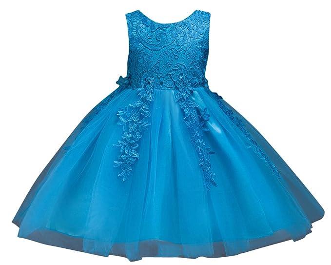 Qitun Vestidos Sin Mangas Elegantes Bautizo Bebé Niñas Princesa Para Bodas Fiesta Gasas Tutu Traje Azul