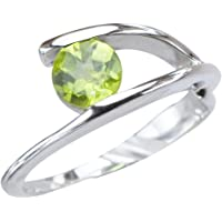 Caratera Womens Rings Art Nouveau Genuine Natural Peridot Gemstone Womens Sterling Silver Jewelry Womens Ring