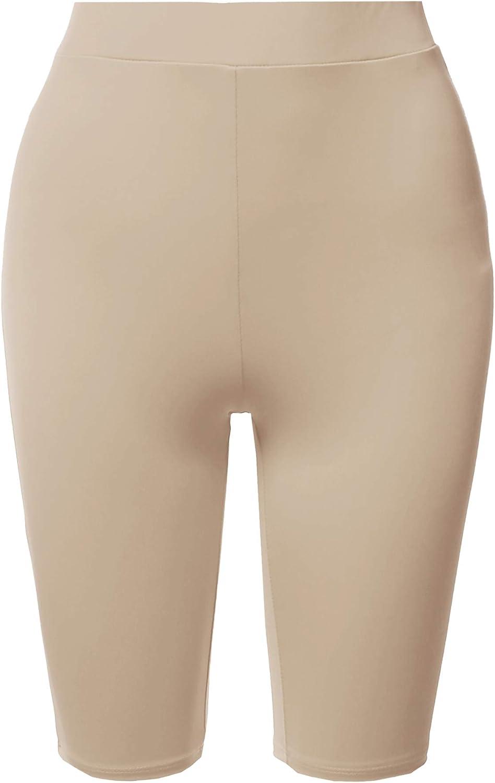 Womens Solid Premium Cotton Mid Thigh High Rise Biker Bermuda Shorts