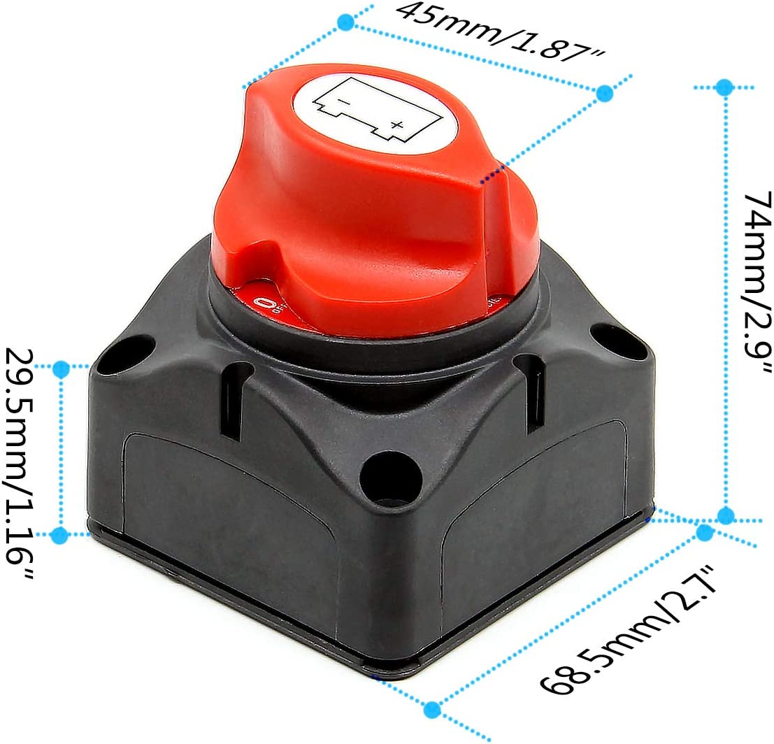 RKURCK 4 Holes Battery Disconnect Isolator Cut OFF Power Kill Switch for Marine Boat Car ATV Motor Winch With 2 Keys