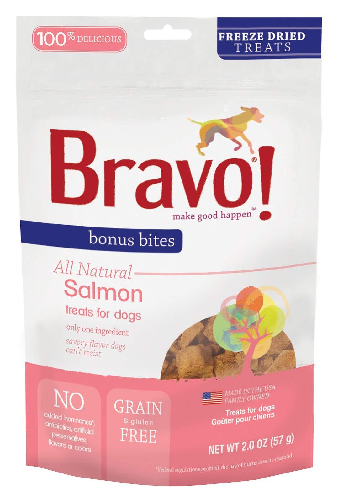 Bravo! Bonus Bites All Natural Freeze Dried Salmon Dog Treats - Grain & Gluten Free - 2 Ounce Bags 1