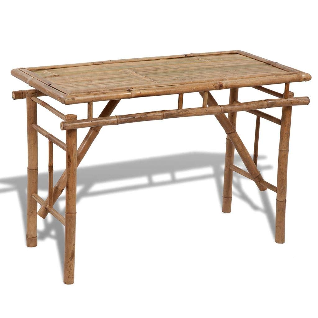 Fesjoy Bamboo Folding Table Wooden Top Sets Weather-Resistant Waterproof Hard-Wearing Bamboo Folding for Patio Outdoor Activities Garden Use